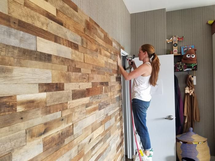 15sf Reclaimed Barn Wood Stacked Wall Panels Bardage Maison Deco Meuble Tele Meubles En Bois De Palettes