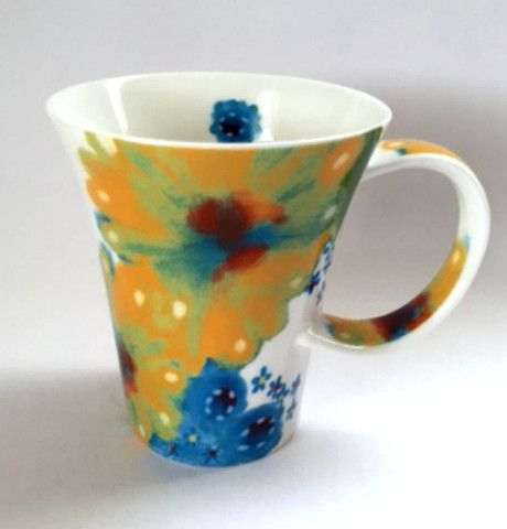 Starbucks Mug Blue Yellow Flowers Twisted Handle Coffee Cup