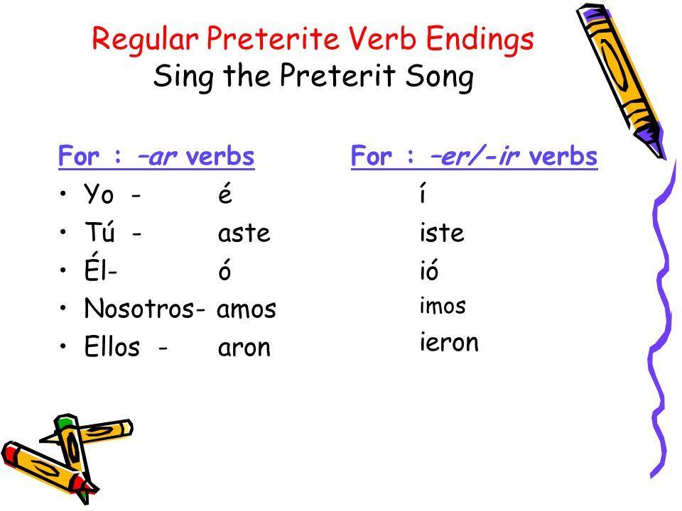 Regular Preterite Verb Endings Simple Past Tense Learning