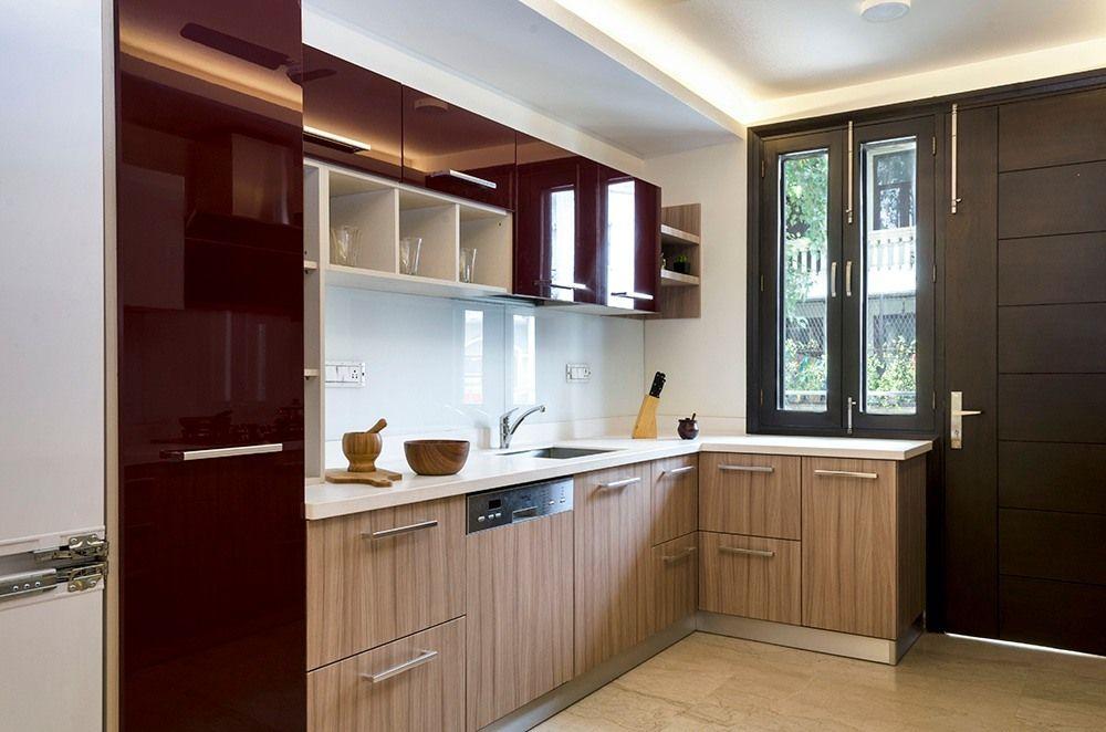 Brown L Shaped Modern Wooden Kitchen Designs | L shaped ...
