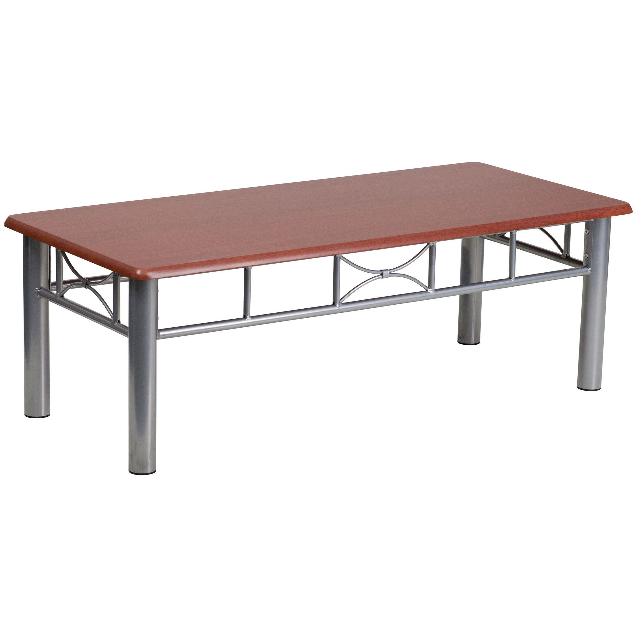 Mahogany Laminate Coffee Table with Silver Steel Frame JB 5