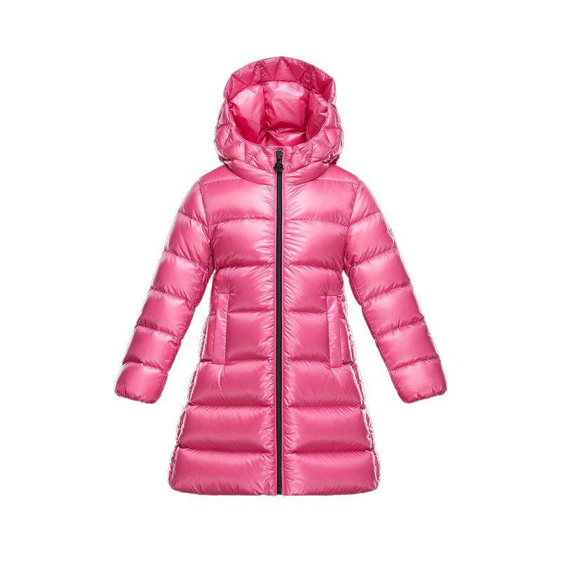Kids Moncler Pink Suyen Hooded Long Puffer Coat   Discounts→Down ... 66fdde70ee9