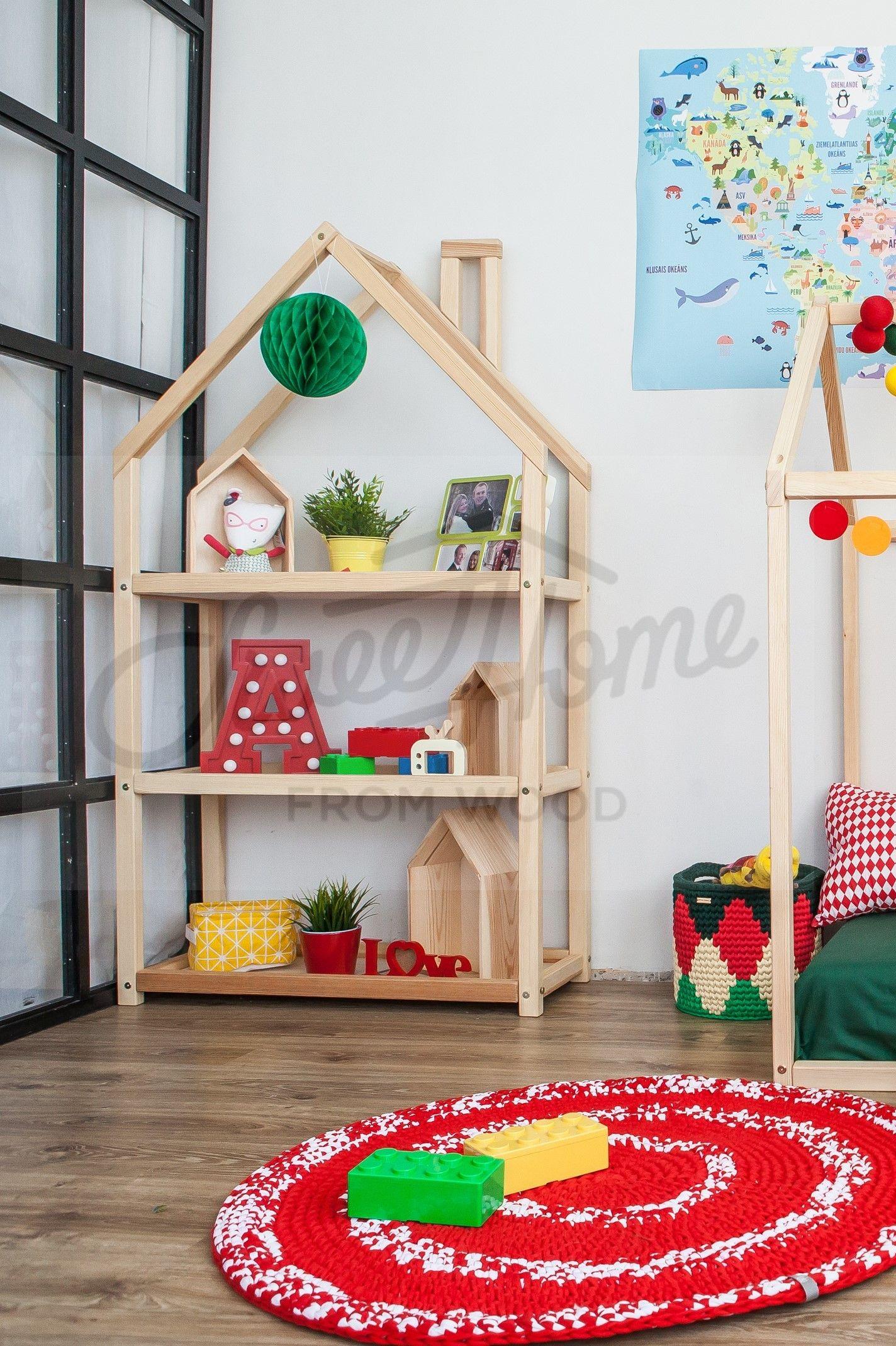Kids Bedroom House Shaped Shelf Or Wooden House Shelf Nursery