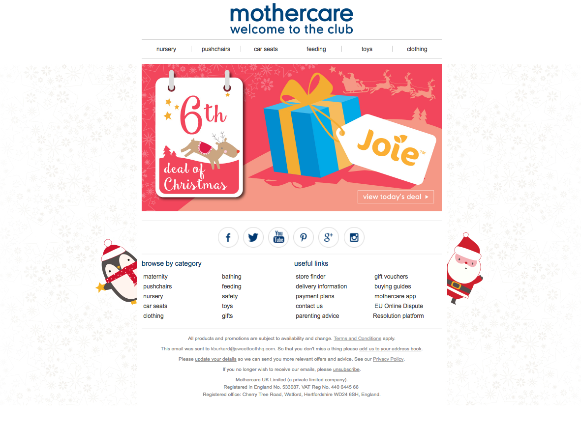 mothercare treats customers to special holiday deals with beautifully wrapped newsletters. What'll it be when it's unwrapped?