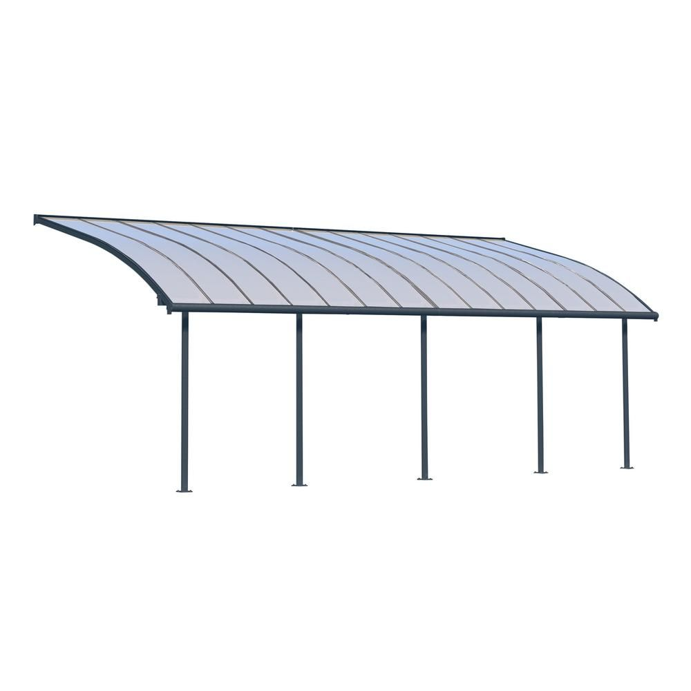 Palram Joya 10 ft. x 28 ft. Grey Patio Cover Awning, Grays