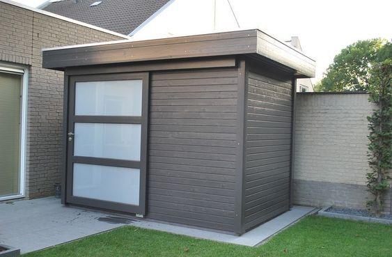 Modern tuinhuis plat dak 300 x 250 schuifdeur Garten