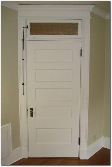 Transom window over five panel door with opening mechanism - Interior door with window on top ...