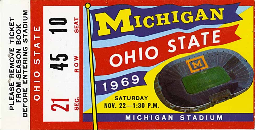 Michigan Vs Ohio State Ticket November 12 1969