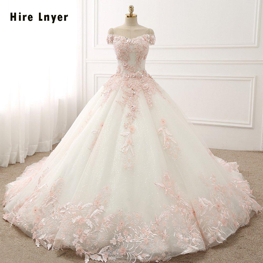 رخيصة Najowpjg قبالة الكتف قصيرة الأكمام الدانتيل يصل الأميرة فستان الزفاف Gelinlik 2018 الوردي الزهور يزين Flowery Wedding Dress Bridal Gowns Wedding Dresses