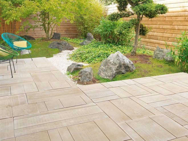 Un dallage extérieur en pierre imitation bois scié Inspiration - carrelage terrasse exterieur imitation bois