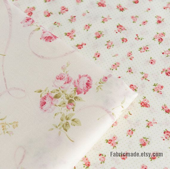 Pink Rose Flower Cotton Fabric Off White Large Small Floral Mini Dots Quilting Clothing