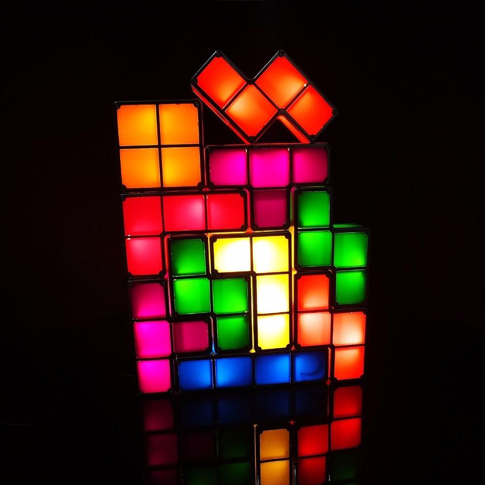 Diy Tetris Puzzle Light Stackable Led Desk Lamp Constructible Block Night Light Retro Game Tower Baby Colorful Bric Puzzle Lights Led Desk Lamp Led Night Light