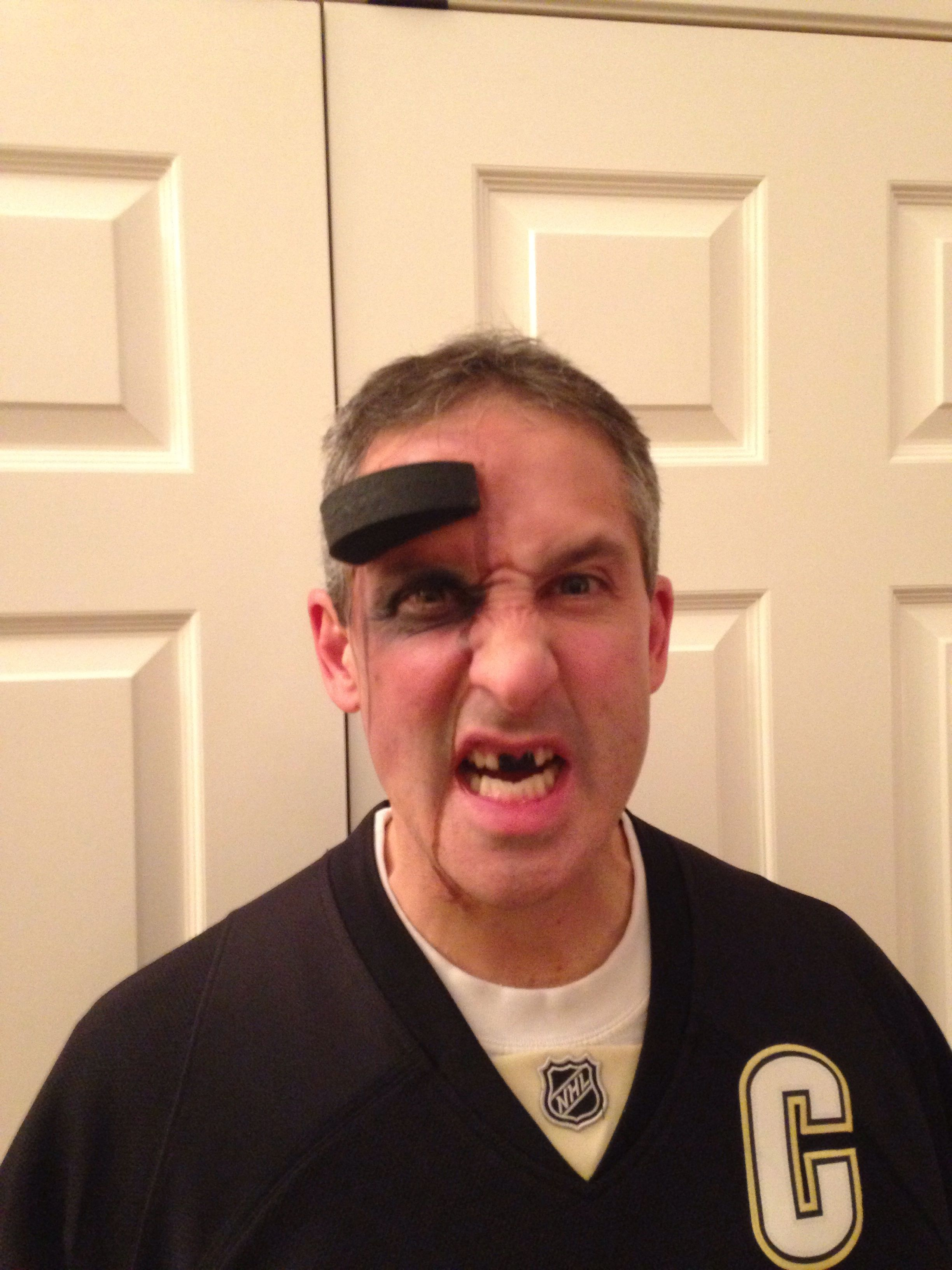Hockey Player Puck In Forehead A Minor Price To Pay To Win The Stanley Cup Halloween 2014 Halloween Party Hockey Party