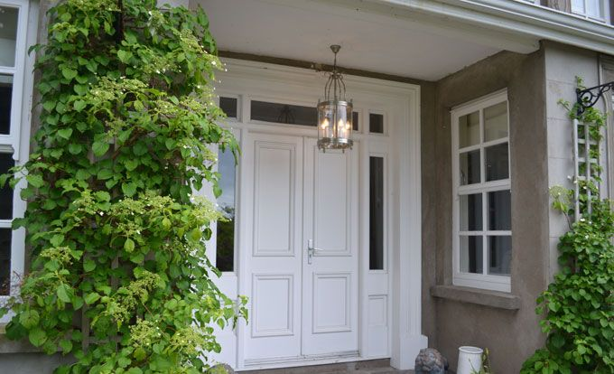 Hardwood Double Entrance Painted Doors With Square Sidelights And Overlight Private Client