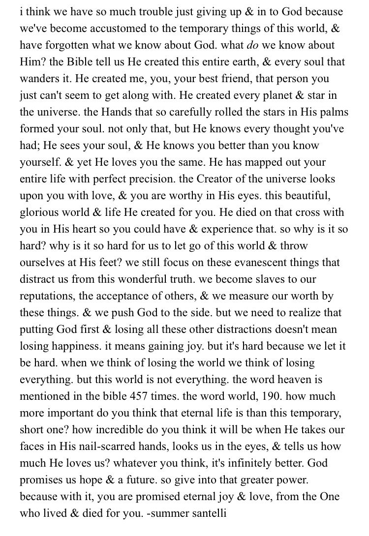 this is honestly so great!!! i rlly incourage for you to read this for it may look long but it may contain the answers for you have been searching for!!! i will never understand why God loves us so bigg when we just sin against him but he is good and all the time he will be good and im beyond thankful for that!!!!