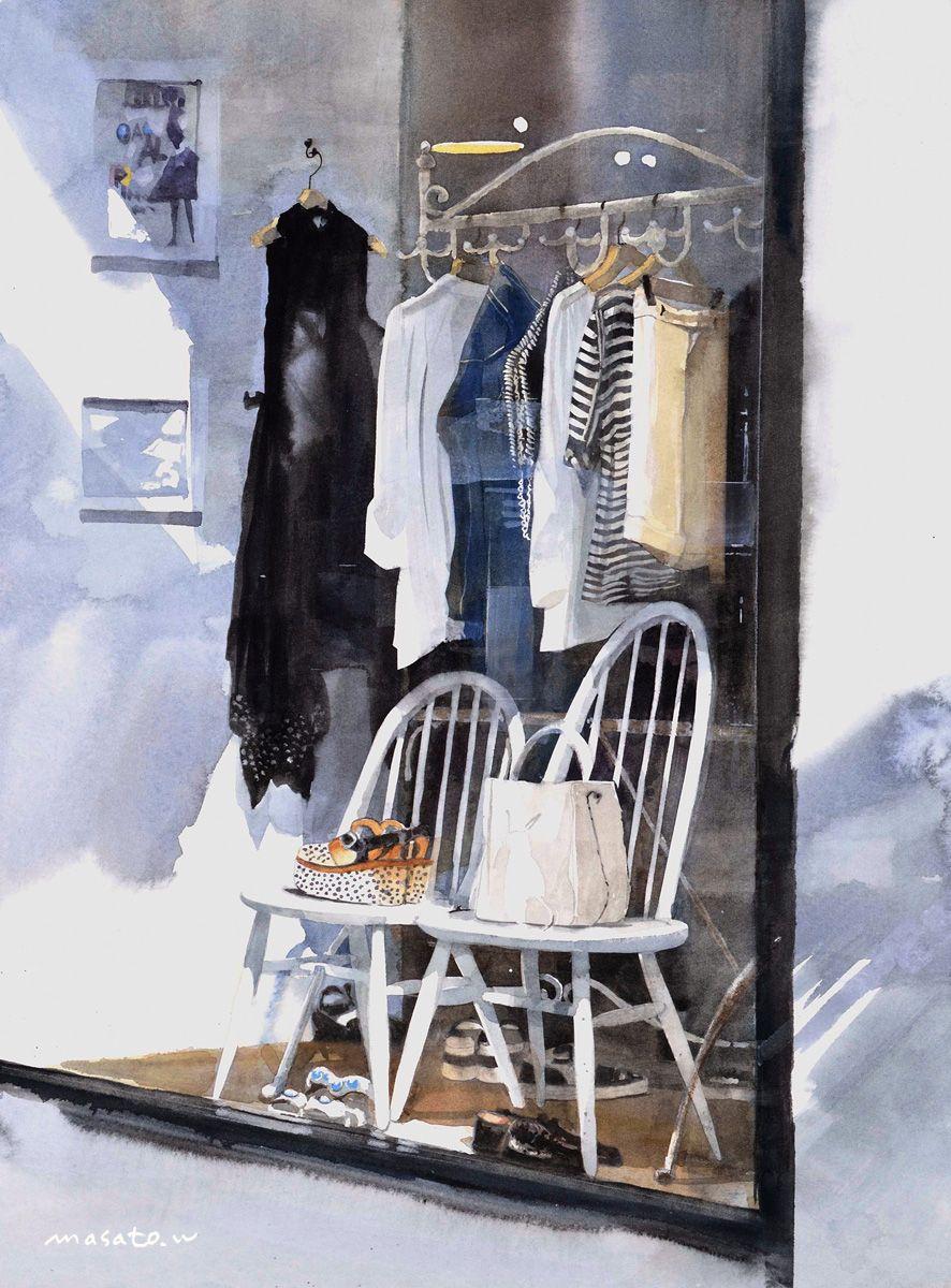 ショーウインド2,Show window 2,Original Watercolor painting by Masato Watanabe