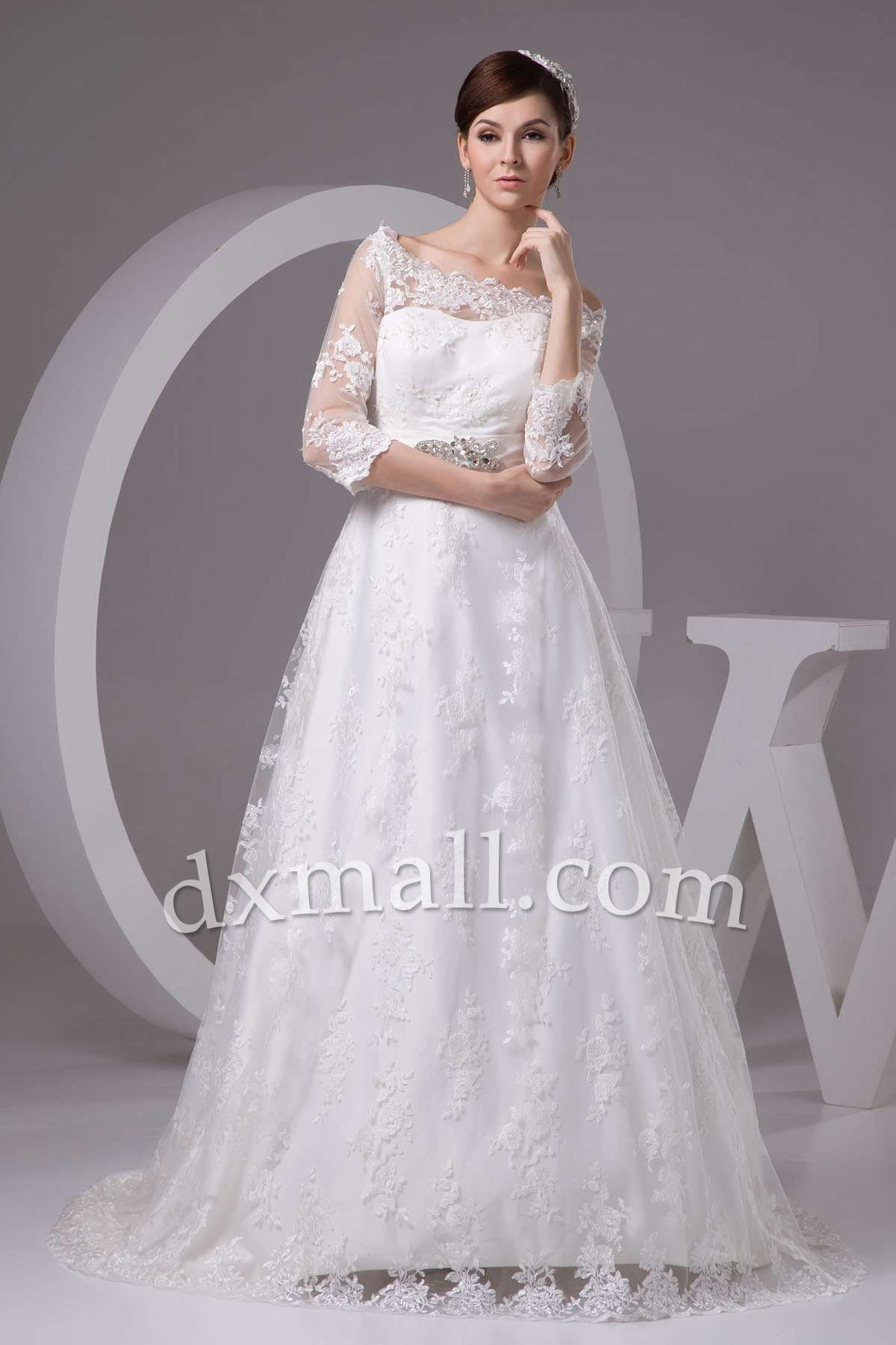 Aline wedding dresses bateau court train lace satin ivory