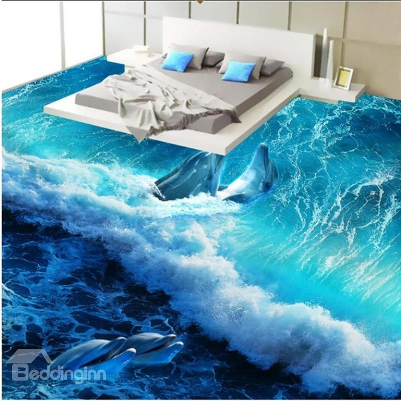 Wonderful design happy dolphins playing in the sea wave for 3d flooring uk