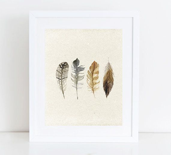 8X10and 11X14  Watercolour Boho Feathers  by PastelPrintablez