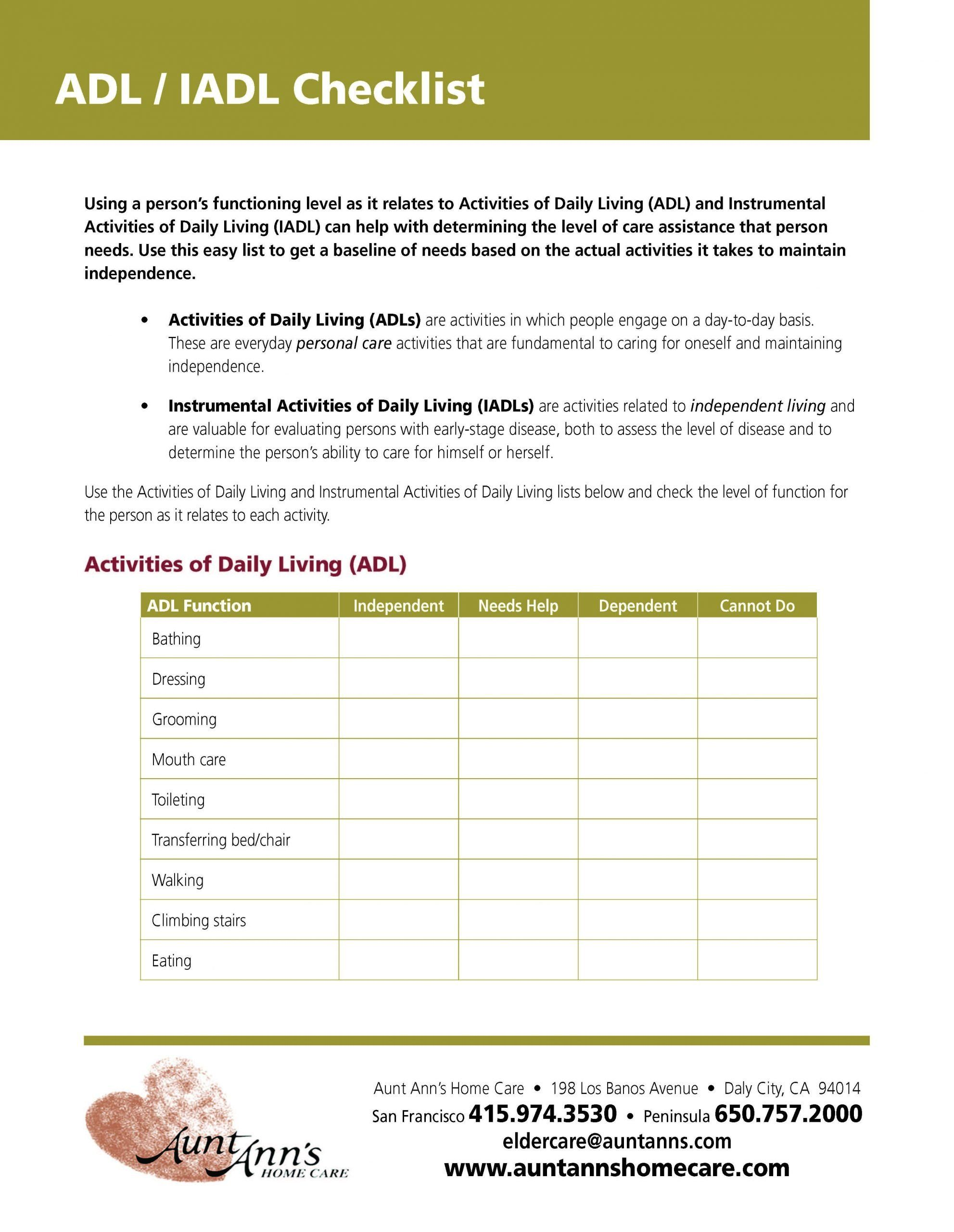Daily Living Skills Worksheet Activities Of Daily Living