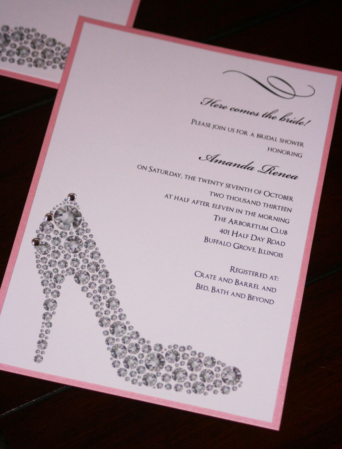 shoe bridal shower invitations too chic little shab design studio inctoo chic little shab design studio inc