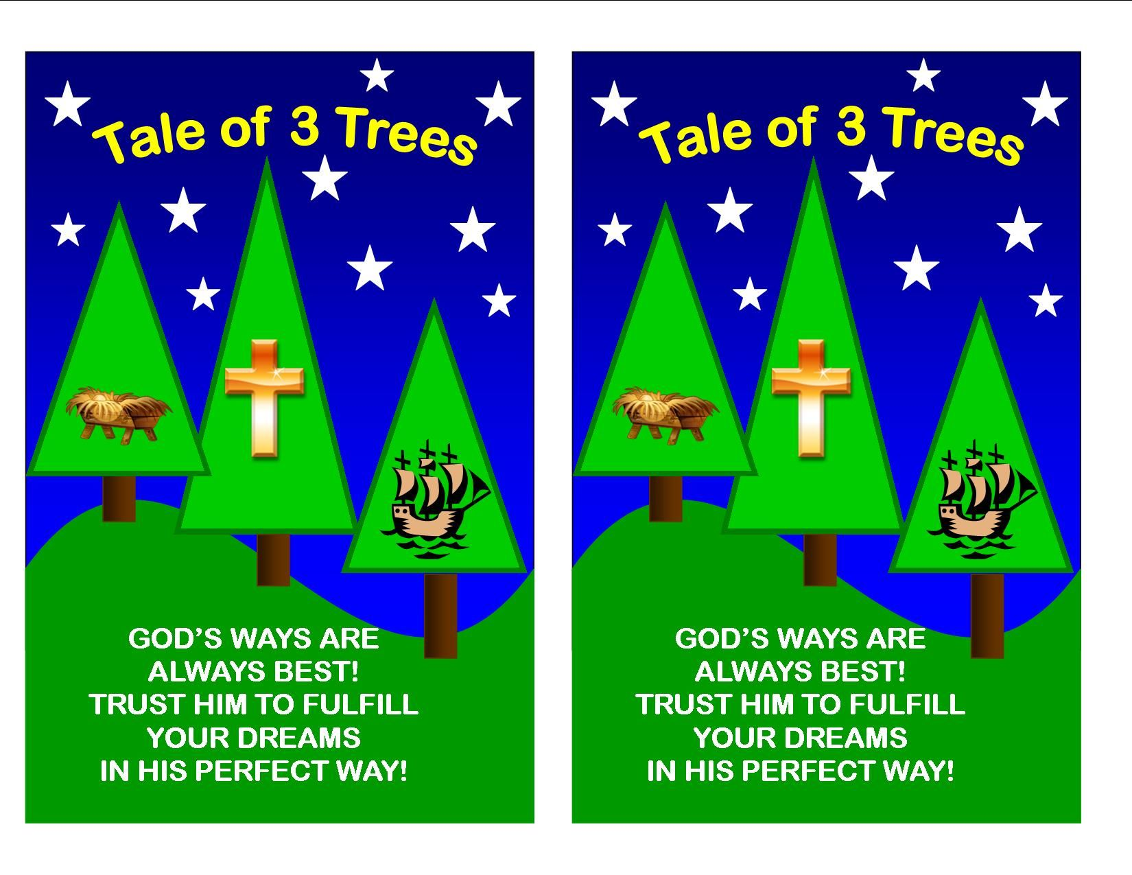 Tale Of Three Trees Take Home Sheet With Images Bible Crafts