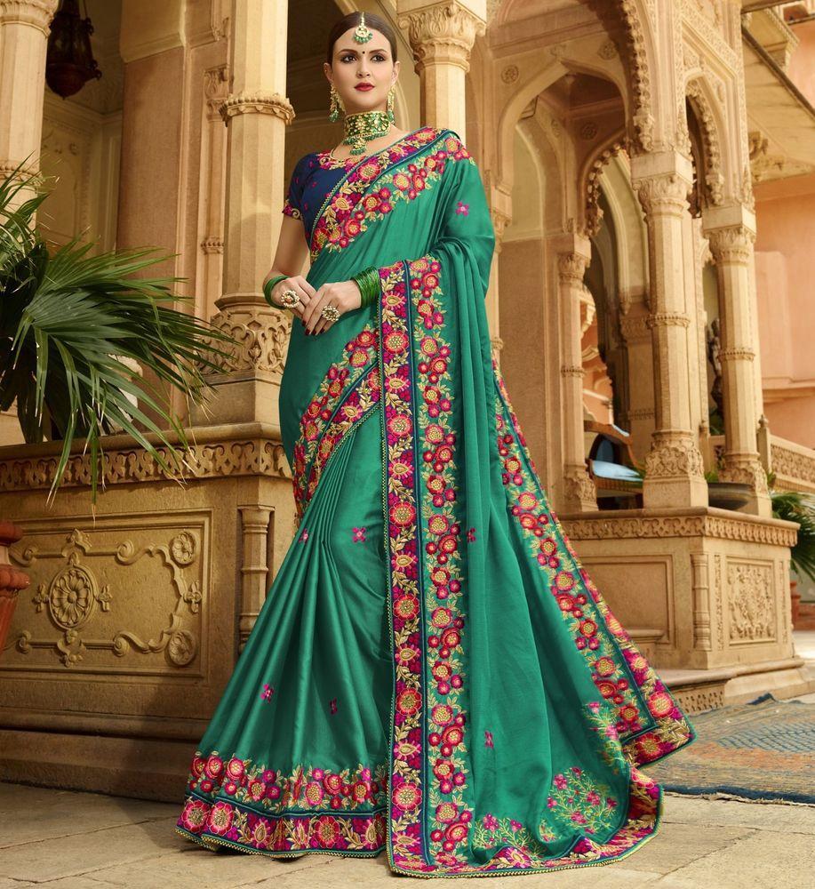 53909b8886 Indian Designer Wedding Silk Saree Sari Traditional Indian Ethnic  Embroidered #saree #sari #designer #wedding #embroidered #embellished  #traditional #indian ...