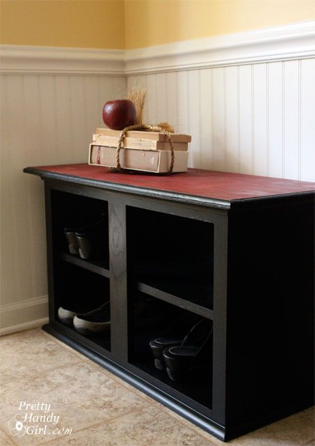 How To Make A Shoe Storage Bench Out Of A Habitat ReStore Wall Cabinet    Pretty Handy Girl