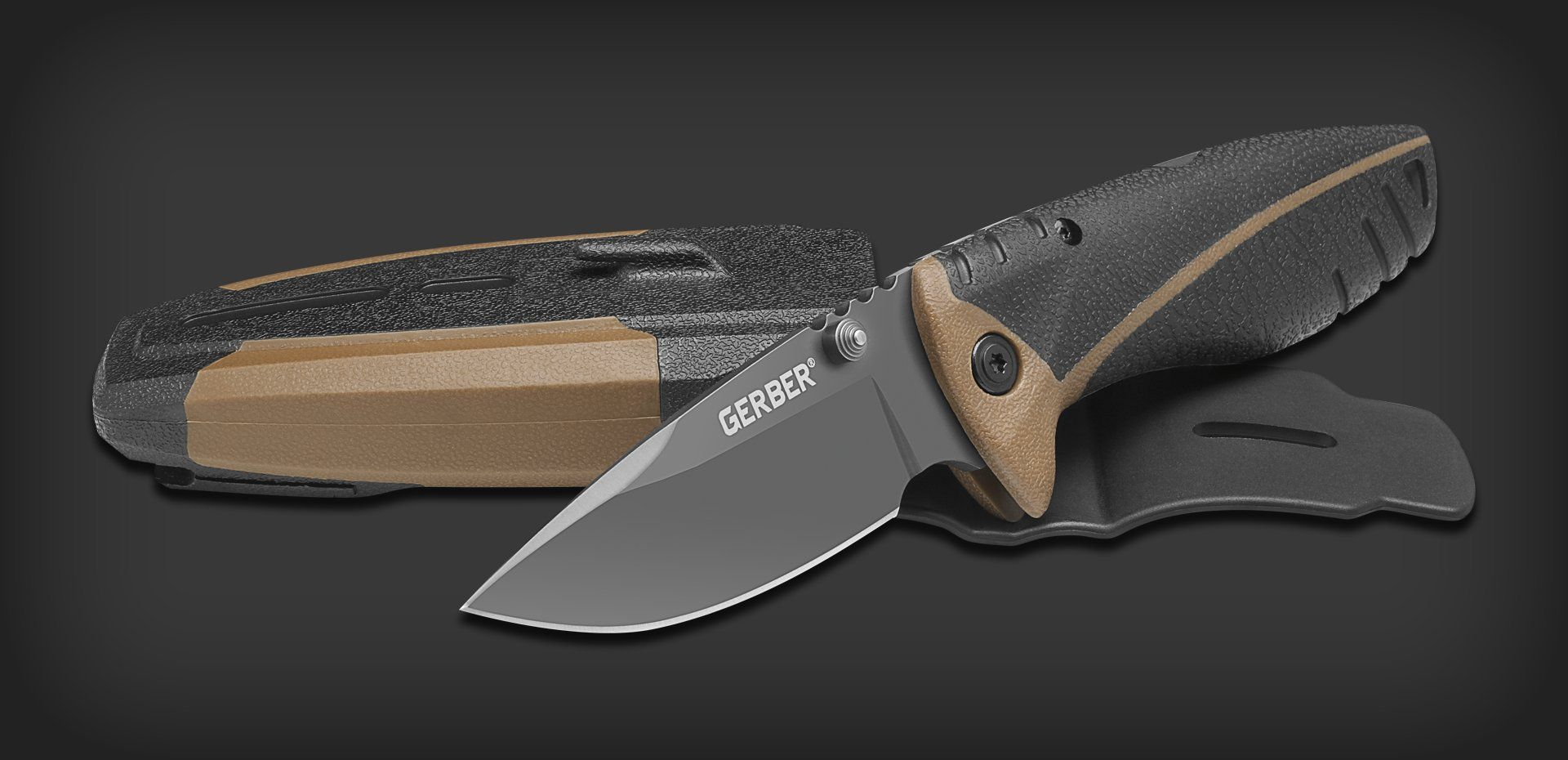 This quiet, lightweight Folding Sheath Knife is built with an aggressive handle design and drop point, high carbon stainless steel blade. The Myth™ Folding Sheath Knife's comfortable, soft rubberized handle offers a secure grip no matter the hunting conditions. Housed in a low-profile hard plastic sheath complete with a built-in carbide sharpener for sharpening on the go. This is the complete package for the modern hunter.Specifications:Item