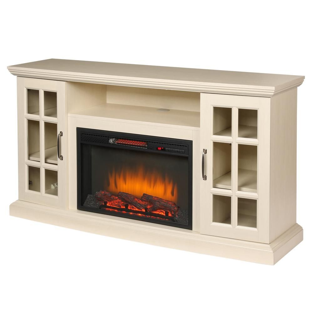 Edenfield 59 In Freestanding Infrared Electric Fireplace Tv Stand In Aged White Fireplace Tv Stand Electric Fireplace Tv Stand Fireplace Tv