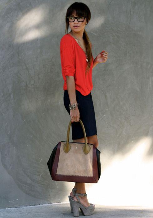 V-neck + Skirt: Gap | Heels: Steve Madden | Bag: c/oPour la Victoire| Glasses: c/oWarby Parker