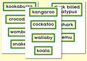 Display words - Autrialian animals