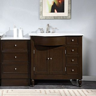 Silkroad Exclusive 58 Inch Carrara White Marble Stone Top Bathroom Single Sink Vanity Left Side Ping The Best Deals On