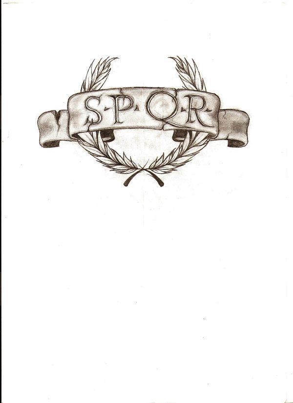 "SPQR Roman Legion tattoo, with ""Legio IX Britannia"" below ..."