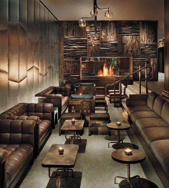 Royalton New York Hotel New York City, New York Bar Boutique City Drink Fireplace Lounge Luxury sofa Lobby living room leather basement