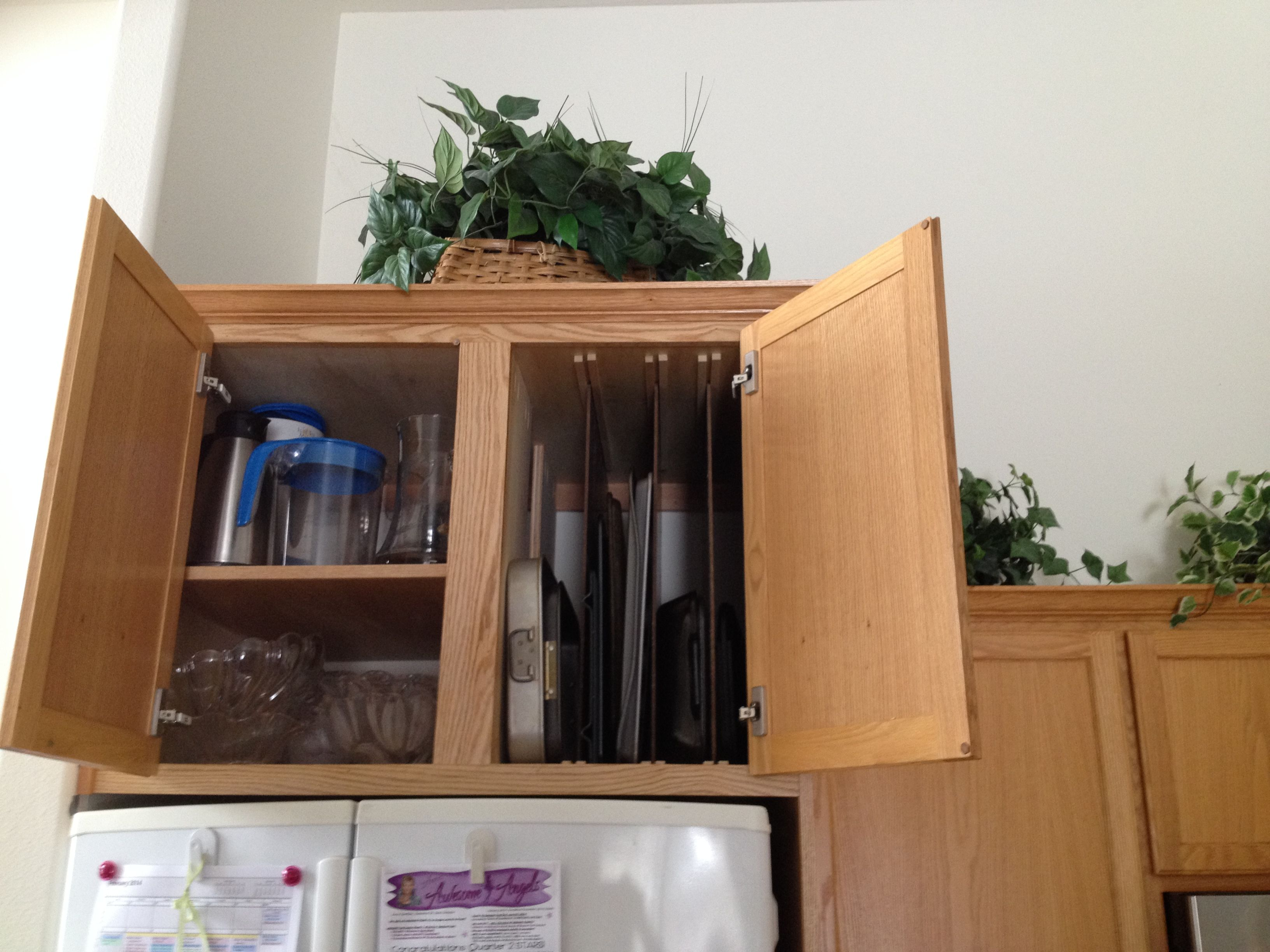 My Hubby Built This Double Deep Cabinet To Go Over Around Our Refrigerator It S