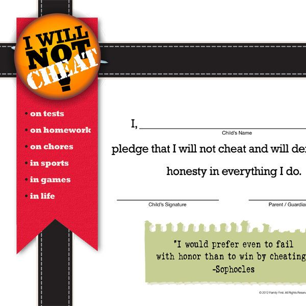 I Will Not Cheat Pledge Parents - free printable contracts