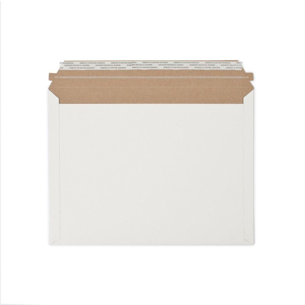 12.5 in. x 9.5 in. White Paperboard Stay Flat Mailers with Adhesive Easy Close Strip 250/Case