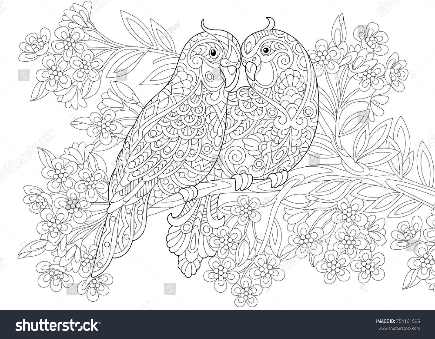Coloring page of two parrots in love and floral background with ...