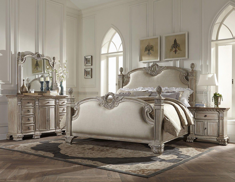 4 Pc Orleans White Wash Bedroom Set Homelegance Usa Warehouse Furniture Upholstered Bedroom King Bedroom Sets Bedroom Set