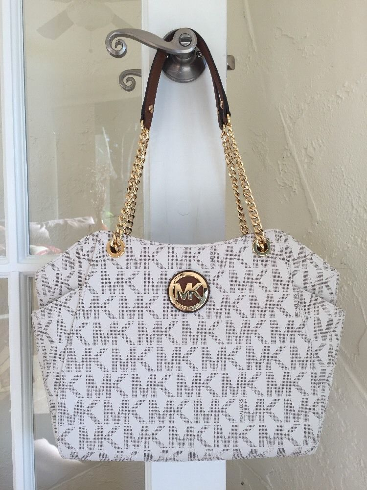 Michael Kors Jet Set Large Chain Shoulder Tote Vanilla Signature Mk Ebay