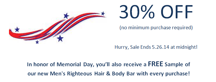 Enjoy up to 30% off all natural hair care products starting 5.23.14 until 5.26.14 at midnight!