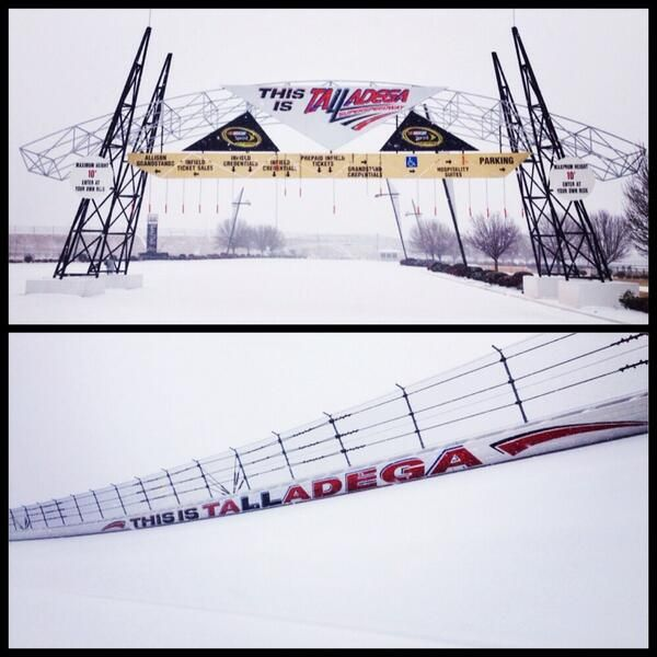 Talladega Super Speedway during winter storm 2014. Upper half is of the entrance---lower half, the track, itself.