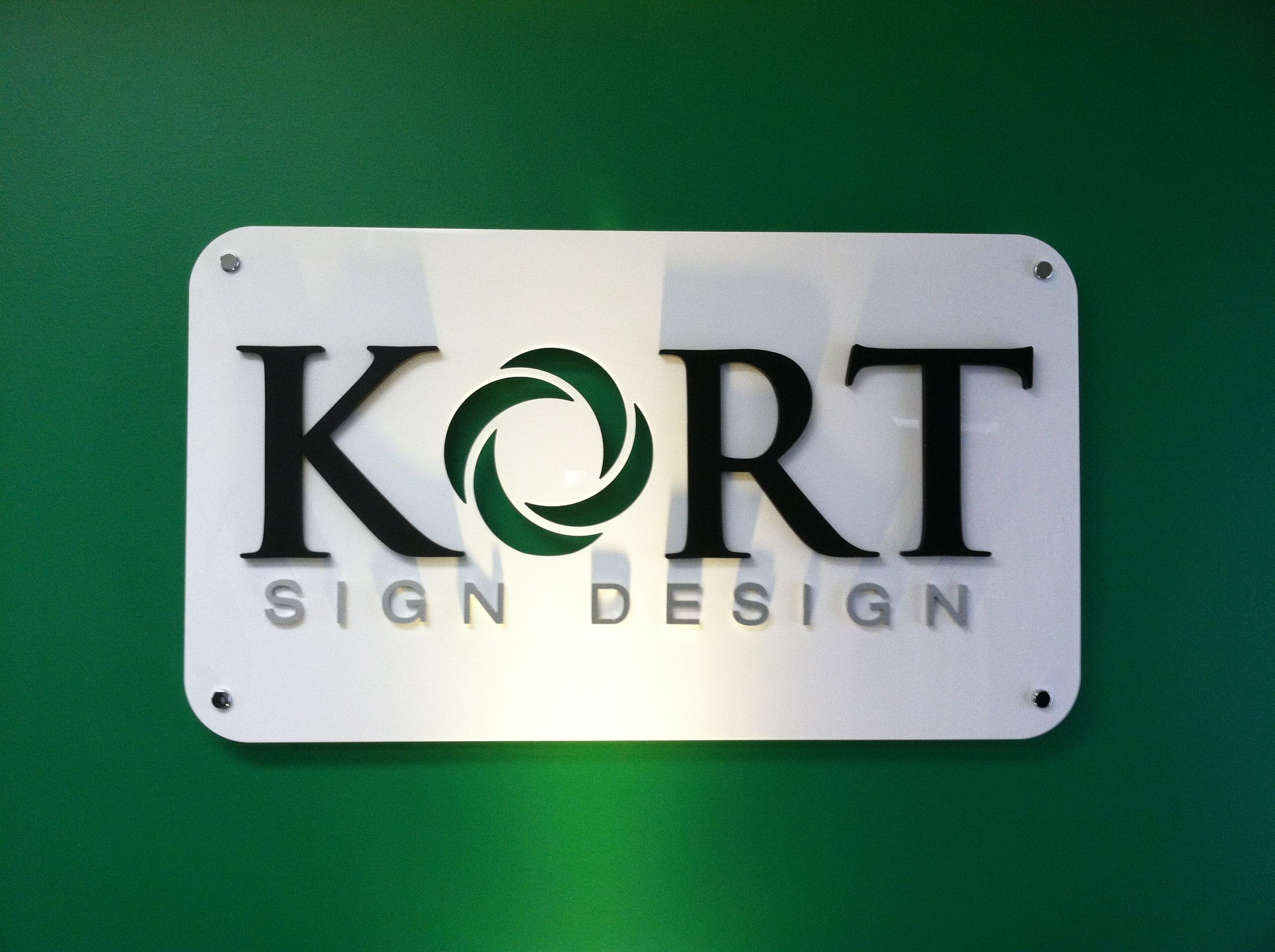 Raised Metal Letters Our New Lobby Sign  Acrylic Backer With Diecut Logo Raised Black