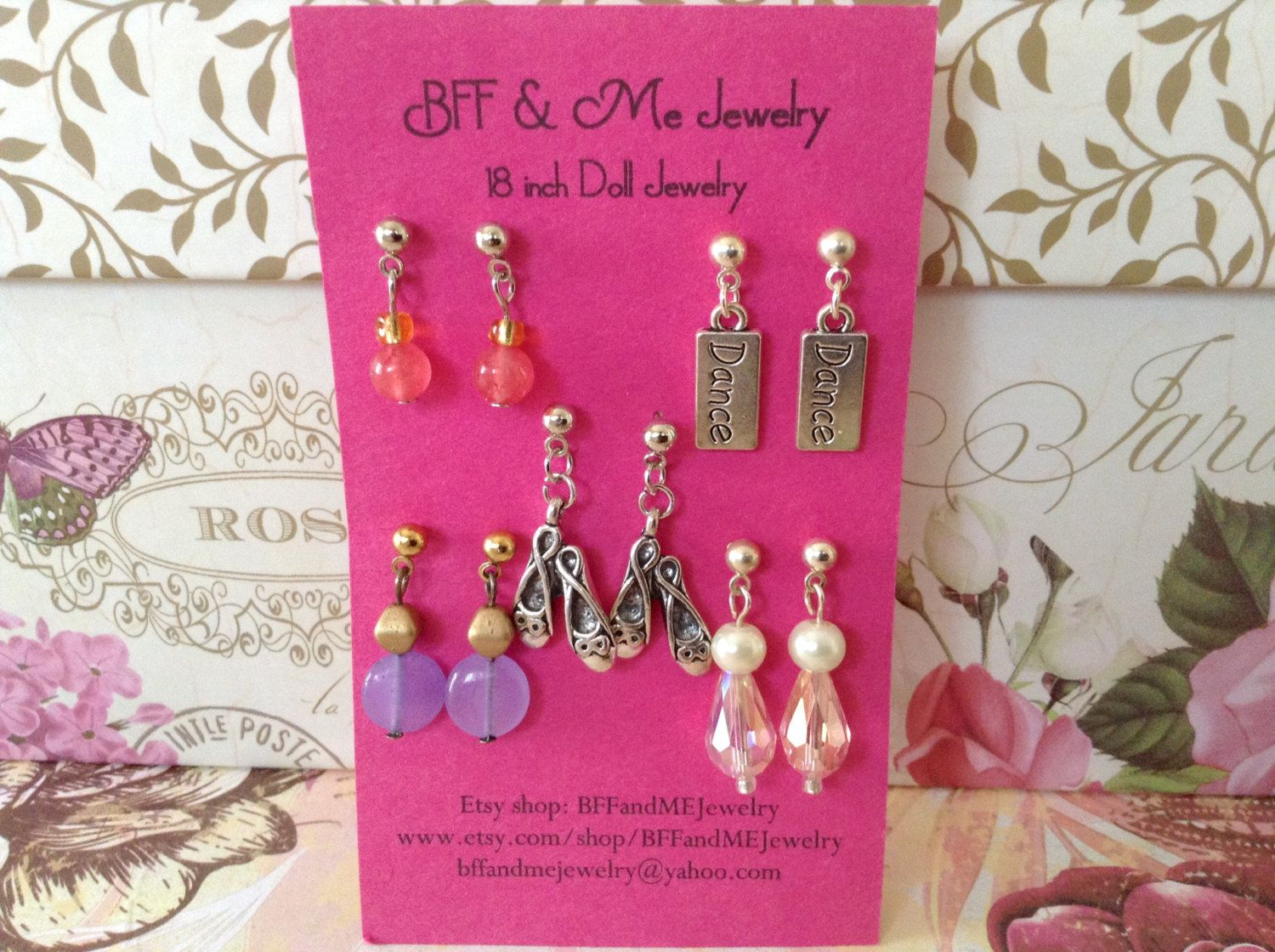 """Five pair earring set inspired to coordinate with Isabelle Palmer for American Girl and other 18"""" dolls by BFFandMEJewelry on Etsy"""