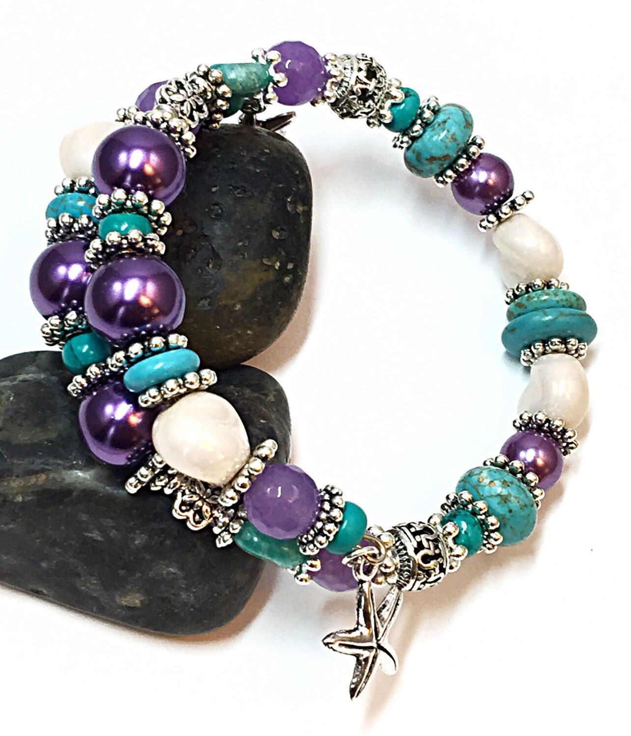 A personal favorite from my Etsy shop https://www.etsy.com/listing/469276311/turquoise-purple-bracelet-starfish