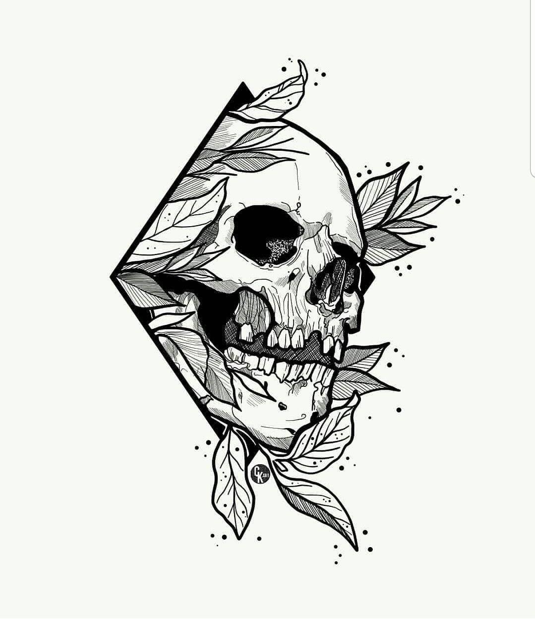 Skull Leaves In Diamond Frame Skull Art Drawing Tattoo Art Drawings Skull Artwork