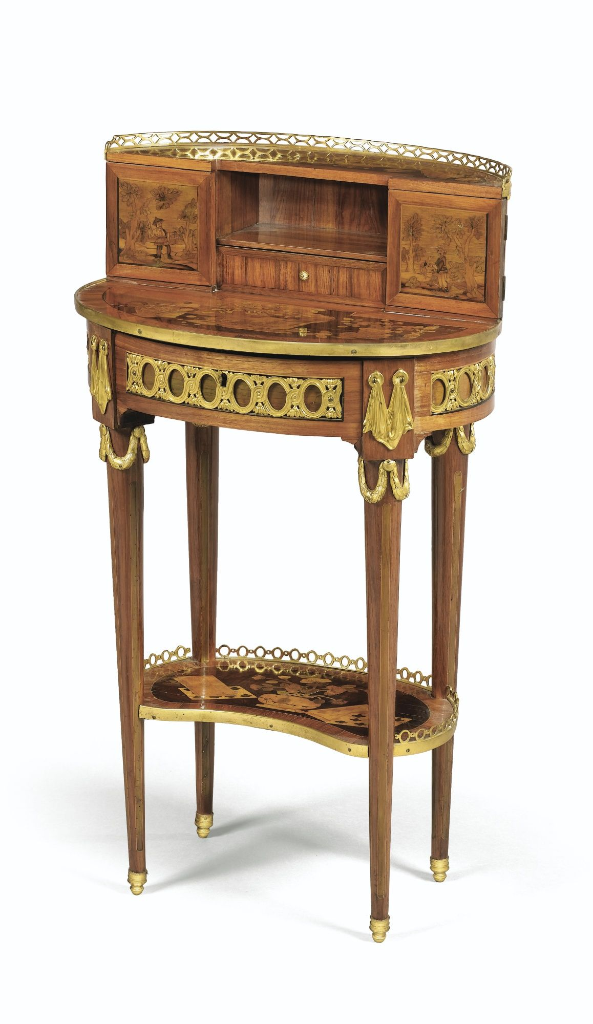 a gilt bronze mounted marquetry bonheur du jour stamped c. Black Bedroom Furniture Sets. Home Design Ideas