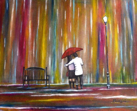 Original romantic PaintingLove in the Rain For by ArtbyManjiri, $299.00