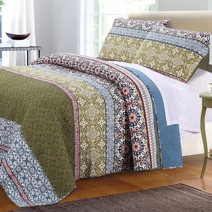 Best Bohemian Boho Blue Green Cotton Quilt Shams Set Blue 400 x 300